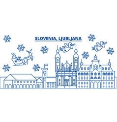 Slovenia ljubljana winter city skyline merry vector