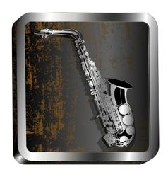 steel icon saxophone engraving vector image vector image