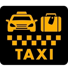 taxi blazon on black icon vector image
