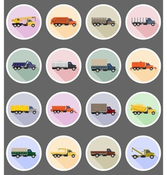 truck flat icons 19 vector image vector image