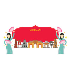 Vietnam landmarks traditional dance frame vector