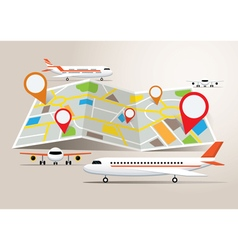 Map with planes and destination vector