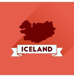Flat icon with long shadow iceland map vector