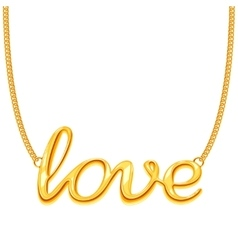 Gold chain necklace with love word pendant vector