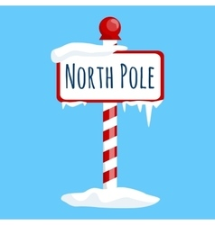 Christmas icon north pole sign with snow and ice vector