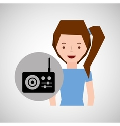 Smiling girl music radio traditional vector