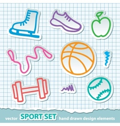 Hand drawn sport stickers eps 10 vector