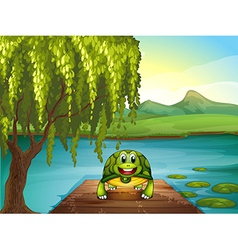 A smiling turtle along the pond vector