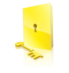 golden locked book and key vector image