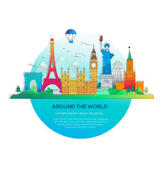 around the world - line travel vector image