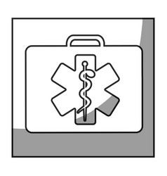 Grayscale square frame shading with first aid kit vector