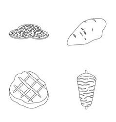Pieces of salami turkey fillet grilled steak vector