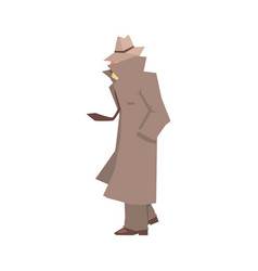 Disguised detective character in grey coat vector