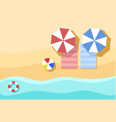 Top view of beach summer background with umbrella vector
