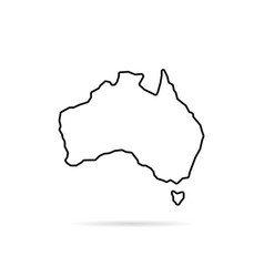 thin line australia map with shadow vector image