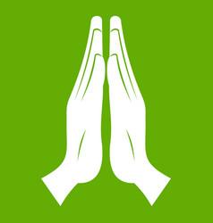 prayer icon green vector image
