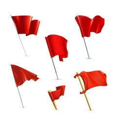 Red flags icon set vector