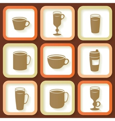 Set of 9 icons of coffee cups vector