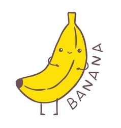 Cute cartoon banana character vector