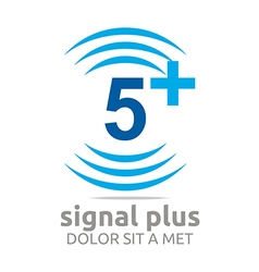 Logo signal number 5 plus blue figure wireless vector