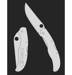 Pocket folding knife chalk on blackboard vector
