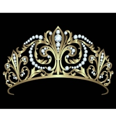Gold diadem with diamonds vector