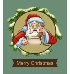 Santa reading letter and talking on phone vector