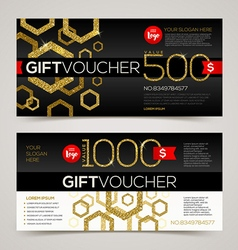 Gift voucher template design with glitter gold vector
