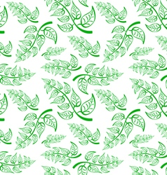 Green branch with leaves seamless pattern on white vector