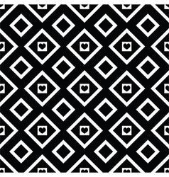 Abstract black and white seamless pattern hearts vector image
