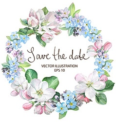 Apple blossom with forget-me-not border vector