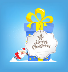 big box of new year gift with card merry christmas vector image