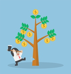 Businessman cutting tree of money vector
