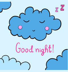 Cartoon sleeping cloud vector