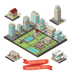 City creation isometric set vector