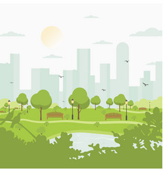City park against high-rise buildings landscape vector