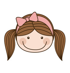 Colorful caricature front face girl with pigtails vector