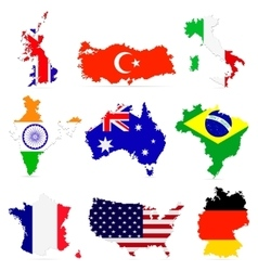 Creative set of countries maps vector image