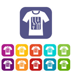 electronic t-shirt icons set vector image