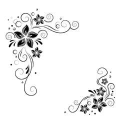Floral corner design ornament black flowers on vector