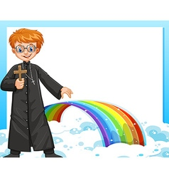 Frame design with priest and rainbow vector