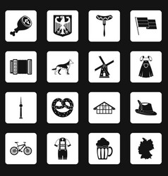 Germany icons set squares vector
