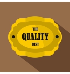 Golden quality label icon flat style vector image vector image