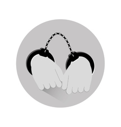 Grayscale hand with handcuffs icon image vector