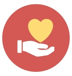 Heart Charity Flat Round Icon vector image