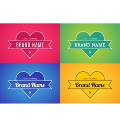 Heart icon logo brand concept bundle set vector image