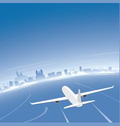 Marseille skyline flight destination vector
