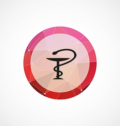 Medical sign circle pink triangle background icon vector