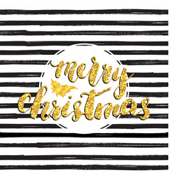 Merry chistmas lettering gold glitter tree hand vector