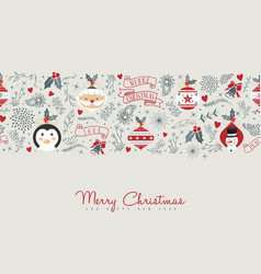 merry christmas cute retro decoration card design vector image vector image
